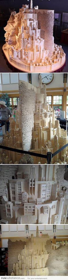 Minas Tirith Made from Matchsticks