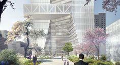 OMA presentó el diseño de su primera torre en la capital japonesa. Un rascacielos con una fachada quebrada que presentará un parque en altura y el acceso a la nueva estación de Metro correspondiente a la línea Hibiya (H).