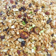 LATE NIGHT POST: We are super excited and very tickled when our creativity becomes limitless... Here is our honey free granolas... Made with lots of nuts like pistachios hazelnuts almonds and coconut.  The granola is the right amount of sweet and a perfect combo with some tigernut milk (which will be made fresh for you tomorrow). Yes we added dried bananas .... That gives it the bang! ... Seriously if you love snacks try to watch our space tomorrow we are rolling out lots of snacking ranges…