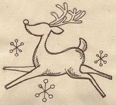 Simple and slightly retro, this reindeer design will be cute on T-shirts and tea towels.  Machine Embroidery