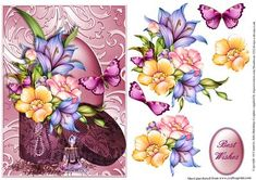 Beautiful Flowers in a hat box card front on Craftsuprint designed by Julie Hutchings - Beautiful floral card front with hat box and perfume bottle. Comes with decoupage to give depth and sentiment tag Best Wishes - Now available for download!