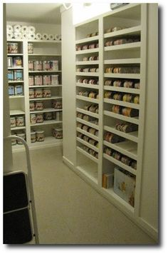 food storage organization. use chalkboard paint to label each area.