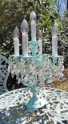 Reserved Antique Brass and Crystal Candelabra, Aqua Table Chandelier, Home Decor, Vintage Lighting, Crystal Lamp