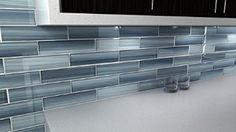 Deep Ocean Blue, Gentle Grey Glass Tile Perfect for Kitchen Backsplash or Bathroom, 11.25 Sq Ft Box