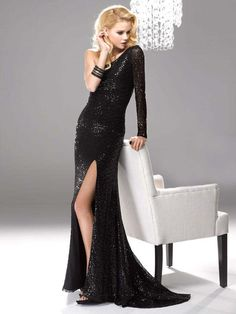 One Shoulder Sweep/Brush Train Sequins Prom Dress