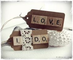 Scrabble swing tags on eBay  Paint your tags and adhere a message or name for a gift