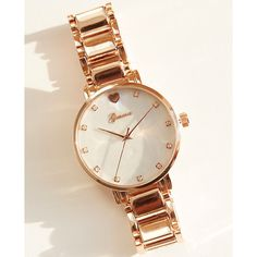 Rhinestone Faux Abalone Dial Boyfriend Watch ($23) ❤ liked on Polyvore featuring jewelry, watches, rose gold, rhinestone watches, bezel watches, wet seal, bezel jewelry and artificial jewellery