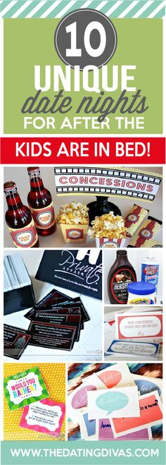 10 date nights you can do from home after the kids are in bed. Just what we need! www.TheDatingDivas.com