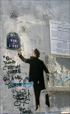 """#streetart """"Un rond, c'est un carré qui a mal tourné""""... rue de l'Est  #Paris20 #PEAV"""