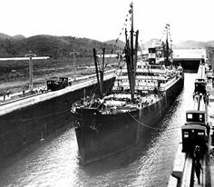 The official inaugural voyage on the Canal, made by the  'Ancon' in 1914 - This Day in History: Aug 15, 1914: Panama Canal open to traffic
