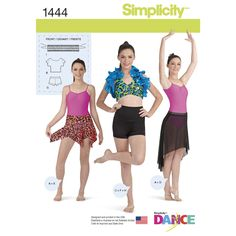 Make this dance outfit for competitions, classes, or pair with other pieces in your wardrobe. Pattern includes leotard, crop top, halter bra, high-low and a handkerchief skirt, high-low waist shorts, shrug, and shrug with overlay. Simplicity sewing pattern.