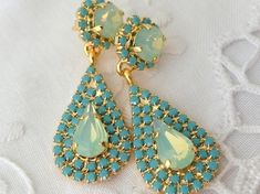 Earrings Silver Color High Quality Rhinestone Howlite Dangle Earrings For Women Marbled Natural Green Stone Drop Earrings Distinctive For Its Traditional Properties