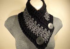 New Button Scarf Crochet Cowl Crochet Scarf by VillaYarnDesigns