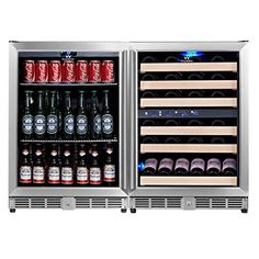 Built-In Wine Cellars - KingsBottle 3Zone Wine and Beverage Combo Refrigerator Holds 160 Cans and 46 Bottles Stainless Steel with Glass Door ** Want to know more, click on the image.
