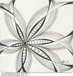 Auranot Floral Series by Sharla R. Hicks © 2012, Certified Zentangle Teacher in Anaheim CA, via Flickr on Zentangle Tile