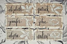 #place cards  #  caligraphy  #  vintage
