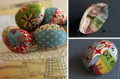 What better way to use up all your fabric scraps than by making your own basket of fabric eggs