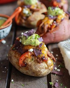 Steak Fajita Stuffed Baked Potatoes with Avocado Chipotle Crema