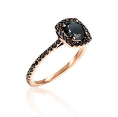 Almost Eternity Rose Gold & Black Diamond Ring by IzandCo on Etsy