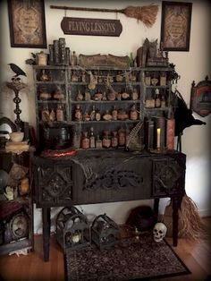 Love these pics in,Halloween Forum .witches potion shop by Halloween Forum member StacyN.how cool would this be to display all my bottles I make. Classy Halloween, Fete Halloween, Holidays Halloween, Victorian Halloween Decorations, Outdoor Halloween, Halloween Witches, Halloween Ceiling Decorations, Samhain Decorations, Happy Halloween