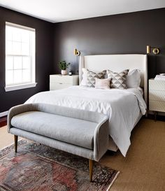 Elizabeth Lawson Design Things We Layered Vintage Rugs Moody Walls White Bedding And Br Fixtures Stuff Ideas Wall Lights Bedroom