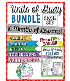 Bundles are available for grades 2-6. This massive bundle includes 10 month-long units of study Common Core lessons for both the reading and writing workshops, with detailed descriptions and chart examples for every lesson. It includes 400 lessons that cover every common core standard in reading literature and reading informational. ($)