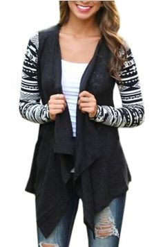 Relipop Women Black and White Striped Long Cardigan Loose Sweater Jacket (Small…