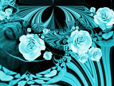 Aqua Color Roses Wallpaper
