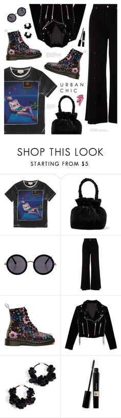 """""""Urban Favorites"""" by catchsomeraes ❤ liked on Polyvore featuring Gucci, Staud, The Row, River Island, The Kooples, Oscar de la Renta, Clinique, denimtrend, widelegjeans and darkflorals"""