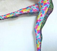 Rainbow Black Leggings OOAKWOrkoutYogaRoller by SparrowAndAsh, $22.00