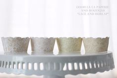 Wrapper option #8...MADE TO ORDER Burlap and White Lace Cupcake by ooohlalapaperie