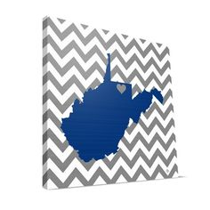"West Virginia Mountaineers 12"" x 12"" Love Canvas Print"