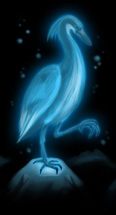 Aosagibi- Japanese folklore: a black crowned night heron that had gained the ability to glow an eery blue. It also has a yellow powder on its beak that ignites into blue fireballs that doesn't burn anything it touches.