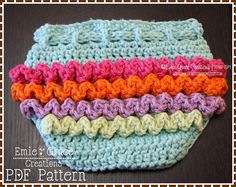 Ruffled Diaper Cover Crochet Pattern - LILY - 709