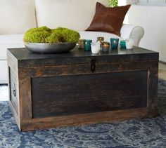 Conway Trunk | Pottery Barn Sectional Furniture, Furniture Upholstery, Home Furniture, Wicker Furniture, Garden Furniture, Wooden Trunks, Wooden Chest, Wooden Benches, Round End Tables