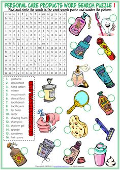 Fun ESL printable word search puzzle worksheets with pictures for kids to study and practise personal care products vocabulary. Find and circle the personal care products vocabulary in the word search puzzle and write the letters on the pictures. Effective for teaching and learning personal care products vocabulary. (2 sets of word search puzzle worksheets) Vocabulary Worksheets, Worksheets For Kids, Wuhan, Esl, Personal Hygiene, Personal Care, Printable Crossword Puzzles, Learning Cards, Picture Dictionary
