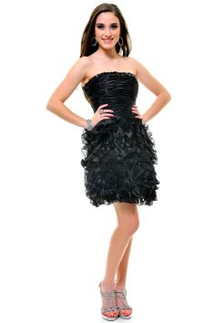 Black Strapless True Romance Ruffle Cocktail Dress