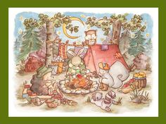 Children Art Print. The Camping Trip. PRINT 8X10. Nursery Art Home Decor. $24.00, via Etsy.