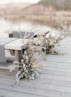 Outdoor Wedding Ceremonies Winter Wedding Ideas by Sarah Winward for Laurie Arons wedding planner masterclass. Floral Wedding, Wedding Flowers, Boho Wedding, Daisy Wedding, Lakeside Wedding, Wedding Fun, Wedding Bells, Rustic Wedding, White Floral Arrangements