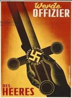 """""""Seja oficial do Exército"""" (1939-45) - Na espada, as inscrições """"Acreditar - Lutar - Vencer"""" (Glauben - Kämpfen - Siegen)."""