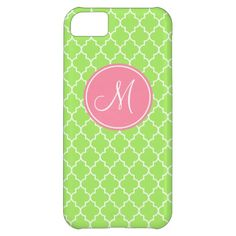 Monogram Green Quatrefoil Pattern iPhone 5C Case