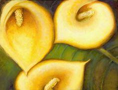 "Calla Lilies-print by M. Kolsoum Ginney mixed media ~ 11"" x 14"""