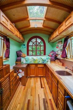 Tiny house community gypsy wagon interior, gypsy caravan interiors, small c Tiny House Community, Casas Containers, Simply Home, Bus House, Remodeled Campers, Tiny Spaces, Tiny House Living, Tiny House Design, House On Wheels
