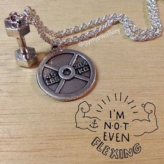 Dumbbell and weight plate necklace fitness gym by Gymjewellery jewellery sports workout exercise motivation inspiration quote