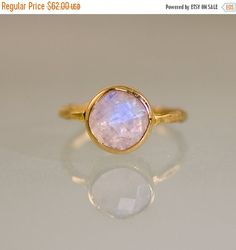 SALE - Rainbow Moonstone Ring Gold- June Birthstone Ring - Solitaire Ring - Stack Ring - Gold Ring - Round Ring - Gift For Her
