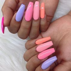 121+ nail designs and ideas for coffin acrylic nails page 15 ~ telorecipe212.com #AcrylicNailsStiletto Acrylic Nails Coffin Short, Summer Acrylic Nails, Best Acrylic Nails, Coffin Nails, Nail Summer, Summer Wear, Cute Acrylic Nail Designs, Simple Nail Designs, Stylish Nails