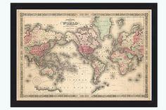 Old World Map Atlas Vintage World Map 1864 Mercator projection on Etsy, $43.00