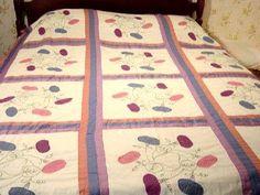 Vintage Morning Glory Appliquéd Hand Made Quilt