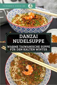 Danzai Nudeln aus Taiwan sind eine Spezialität aus der Stadt Tainan im Süden der Insel. Die Nudelsuppe ist jedoch mittlerweile in ganz Taiwan verbreitet. Sie basiert auf einem Sud aus Shrimp Schalen und einer kräftigen Hackfleischsoße. Mit diesem einfachen Rezept holt ihr euch schnell einen Hauch Asien nach Hause. #Nudel #Suppe #Asien #Rezept #Taiwan #Nudelsuppe