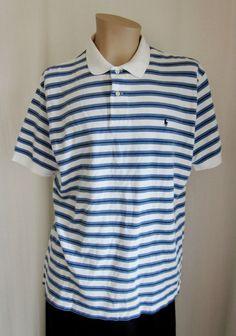 POLO Ralph Lauren Men's Blue White Stripe Polo Shirt XL XLarge Cotton #PolobyRalphLauren #PoloRugby